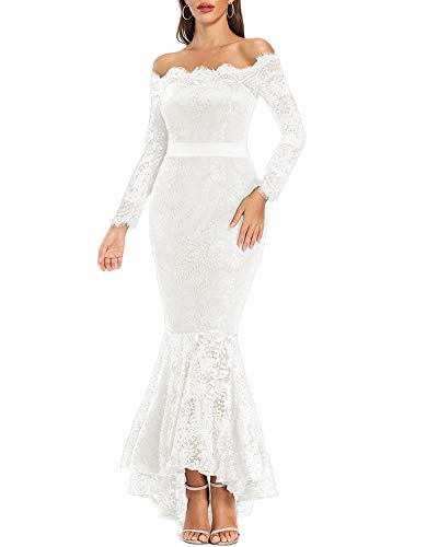 LALAGEN Women's Floral Lace Long Sleeve Off Shoulder Wedding Mermaid Dress White XL