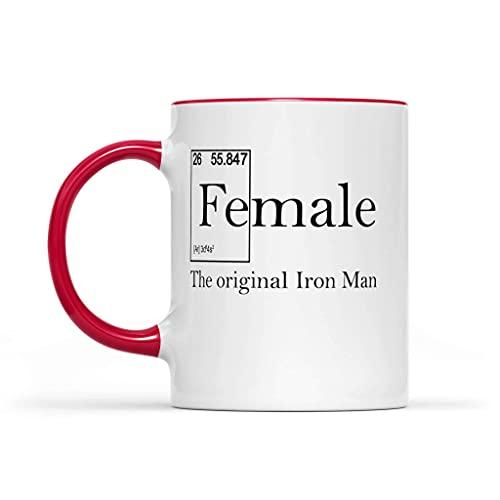 N\A Tazas Femeninos - Fe (Macho) Accent Taza 11oz El Original de Iron Man Coffee Acento Rojo Taza de cerámica - Fuerte Mujer de la Idea del Regalo Taza de café