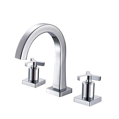 JOMOO 8 Inch Brass Widespread Bathroom Faucet TwoHandle ThreeHole Deck Mounted Waterfall Lavatory Faucet with Ceramic Valve and Faucet Supply Hoses Chrome