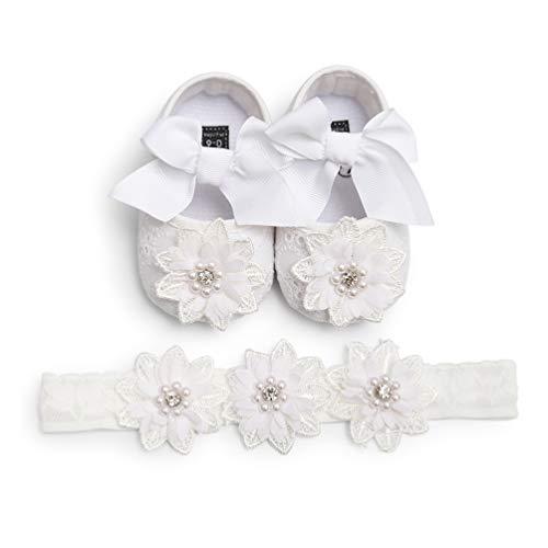 EDOTON 2 Pcs Kleinkind Schuhe+ Stirnband, Baby Mädchen Blumen Schuh Anti-Rutsch-Weiche Besondere Anlässe Taufe Hochzeit Party Schuhe (0-6 Monate, B - Weiß)