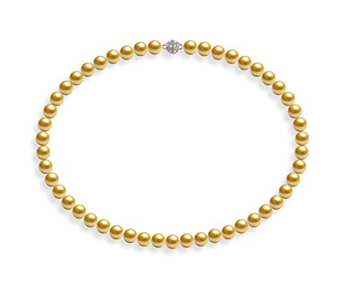 Schmuckwilli Damen Muschelkernperlen Perlenkette Gold Magnetverschluß echte Muschel 45cm dmk0013-45 (8mm)