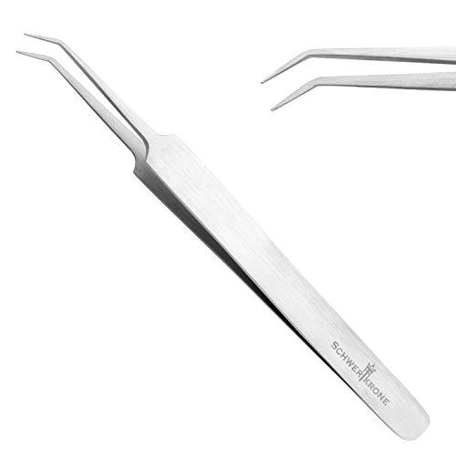 Schwertkrone Gebogene Pinzette Zeckenpinzette Uhrmacherpinzette Splitterpinzette gebogen 11,5 cm Pinzette spitz Für Modellbau