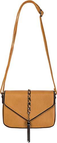 styleBREAKER Damen Umhängetasche im Envelope Design mit Kugel-Nieten, Kette und Quaste, Schultertasche, Handtasche, Tasche 02012274, Farbe:Curry
