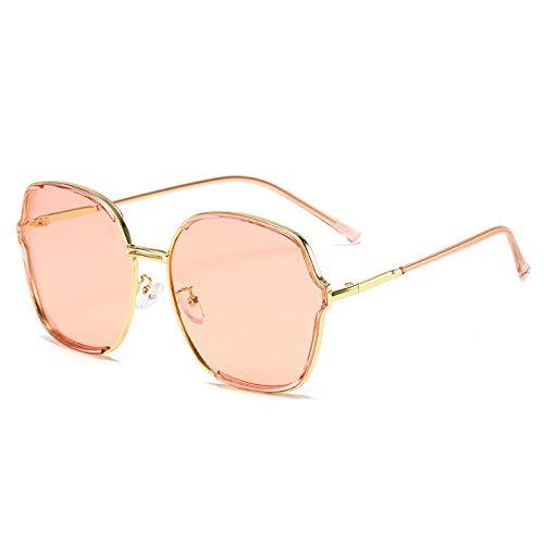 Gafas de sol polarizadas cara redonda cara delgada versión coreana de la marea INS protección UV-Powder marco dorado