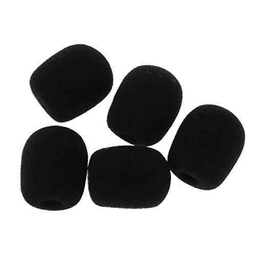 VONGEE 5PCS Negro Micrófono Auriculares Espuma Esponja Parabrisas Cubierta de micrófono