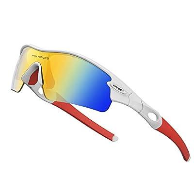 WOOLIKE Sports Sunglasses Driving Glasses Shades for Men Women Interchangeable 5 Lens Sunglasses for Cycling Baseball 805 (White&Red&Revo Lens)