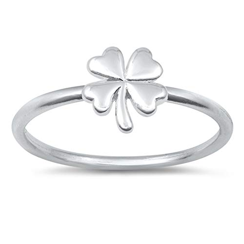 Good Luck Four Leaf Clover Nature Ring New .925 Sterling Silver Band...