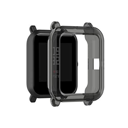 YOFEE WHZZ ADCD para Fajefit Bip Lite versión 1S / BIP S Transparent TPU Watch Funda Protectora (Color : Transparent Black)