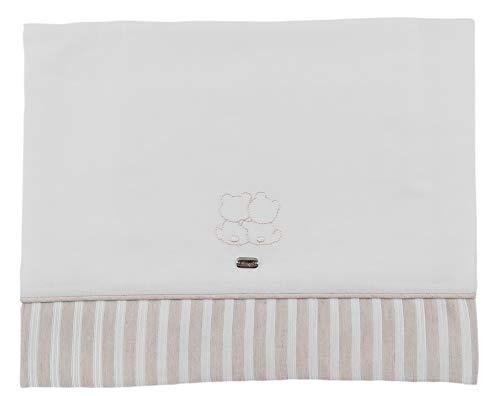 NINNAOH Juego completo de sábanas con diseño de cochecito de bebé, de algodón, blanco y beige, E21LE203