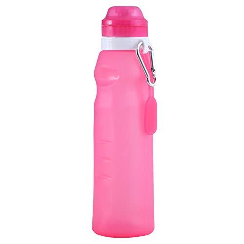 Plegable Botella Agua Deporte Plegable Botella De Agua Cristal Botella de Agua Reutilizable Lindo Botella de Agua Botellas de Agua a Prueba de Fugas Red,600ml