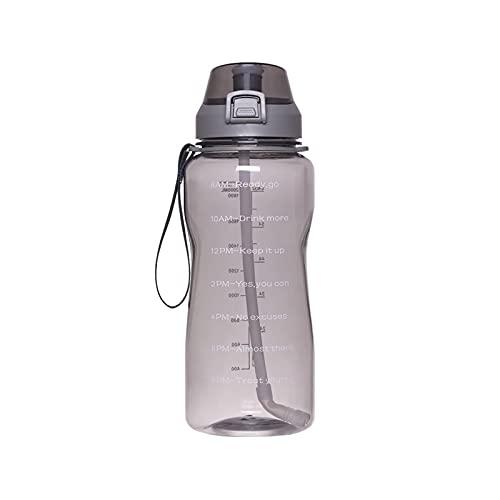ZZDH Botella de Agua Deportiva 2L Half Gallon Sport Gym Botella de Agua Motivacional en Material BPA Gratis con Marcador de Tiempo Adecuado para Fitness, Deportes al Aire Libre