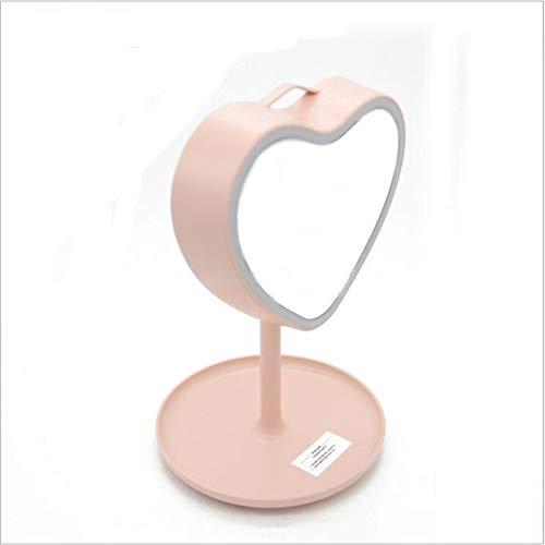 Jingjing Lámpara de mesa con espejo de maquillaje LED para almacenamiento de cosméticos, color rosa