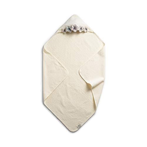 Elodie Details Telo-Accappatoio per Neonato in 100% Cotone Oeko-Tex con Fiori 80 x 80 cm - Embedding Bloom, Bianco