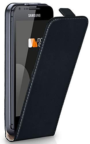 moex Flip Hülle für Samsung Galaxy S2 / S2 Plus - Hülle klappbar, 360 Grad Klapphülle aus Vegan Leder, Handytasche mit vertikaler Klappe, magnetisch - Schwarz