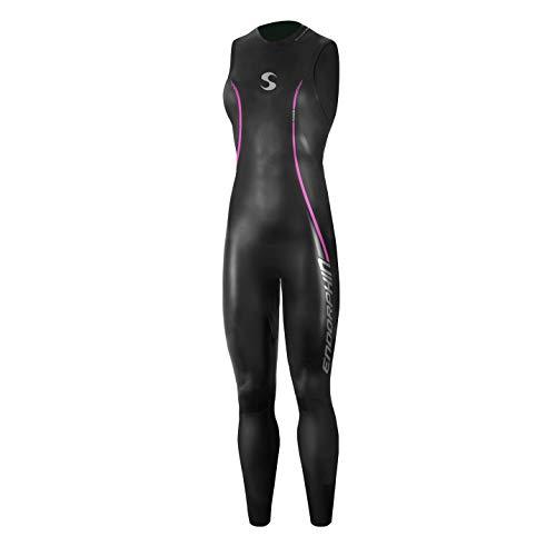 Synergy Triathlon Wetsuit 5/3mm - Women's Endorphin Sleeveless Long John Smoothskin Neoprene for Open Water Swimming Ironman & USAT Approved (W1, Black)
