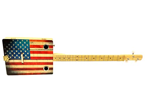 """""""Old Glory"""" 3-string Acoustic-Electric Cigar Box Guitar - Fun to Play, Made in the USA!"""