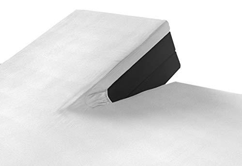 SLEEPMED Sábana Bajera Ajustable para Cama Doble Articulada, Juego de 2, Sábanas en Algodón elástico de Jersey tamaños (Blanco, 160 x 200 cm)