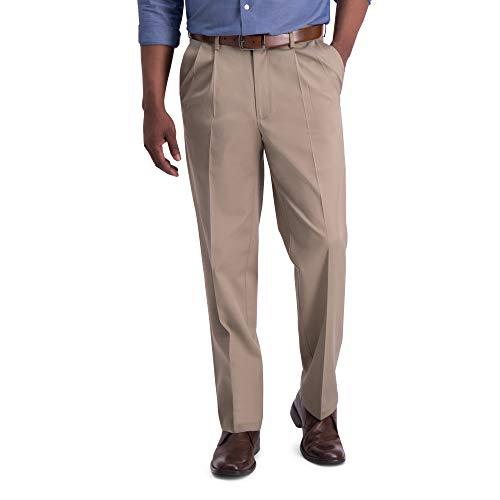 Haggar mens Iron Free Premium Khaki Classic Fit Pleat Front Expandable Waist Casual Pants, Medium Khaki, 34W x 29L US