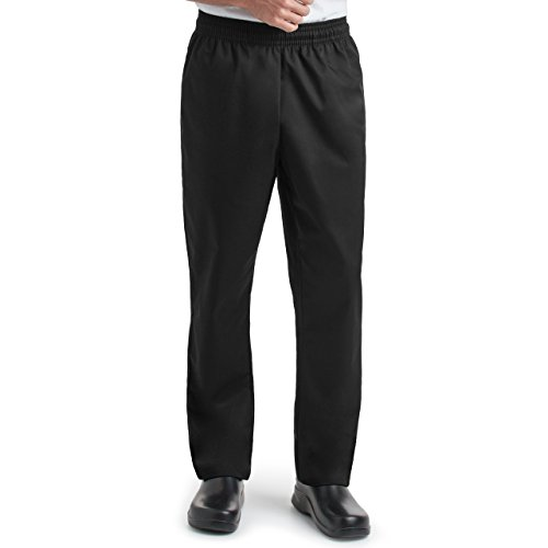 Unisex Chef Baggy Pants/Elastic Waistband with Tapered Leg / 2 Side Pockets and 2 Back Pockets (S-2X) (XX-Large) Black