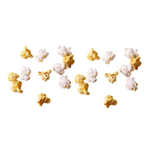 EXCEART 20Pcs Artificial Popcorn Resin Popcorn Decoration Popcorn Garland Popcorn Model Set Advertising Photo Prop for DIY Earring Bracelet Neacklace Accessory Mixed Color