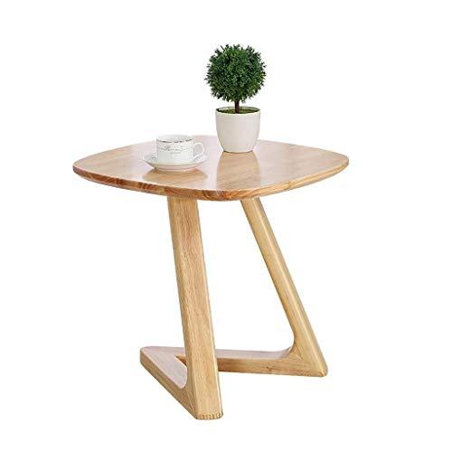 Mesa de centro Mesas laterales pequeña mesa de café de la sala de la esquina redonda Tabla grueso de madera de roble Mesilla de noche Sofá Mesa auxiliar Mesa auxiliar moderna Decoración de muebles Tab