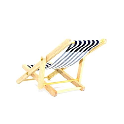 Casa De Muñecas Miniatura Silla De Playa De Madera Plegable Mini Chaise Longue Juguetes con Rayas Casa De Muñecas Casa Accesorios De Muebles Al Aire Libre Color Aleatorio