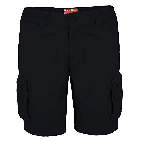 Herren Cargo Shorts 100% Baumwolle Combat Kurz Hose Normale Passform Bermuda (W40 (Taille: 104-106cm), Schwarz)