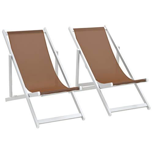 vidaXL 2X Sillas de Playa Plegables Aluminio Textilene Marrón Asiento Taburete