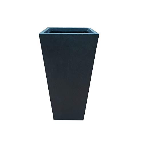 Kante RF0229A-S-70221 Lightweight Concrete Modern Tapered Square Outdoor Planter, 28 Inch Tall, Burnished Black