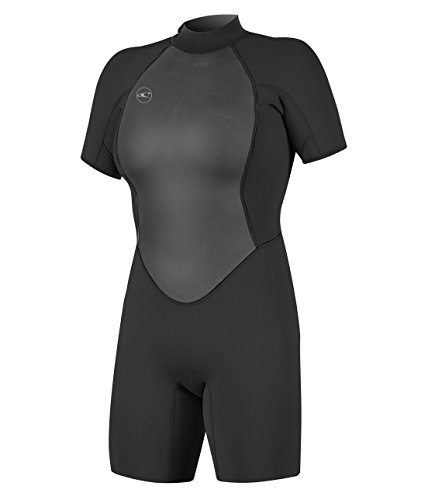 O'Neill Women's Reactor-2 2mm Back Zip Short Sleeve Spring Wetsuit, Black/Black, 12