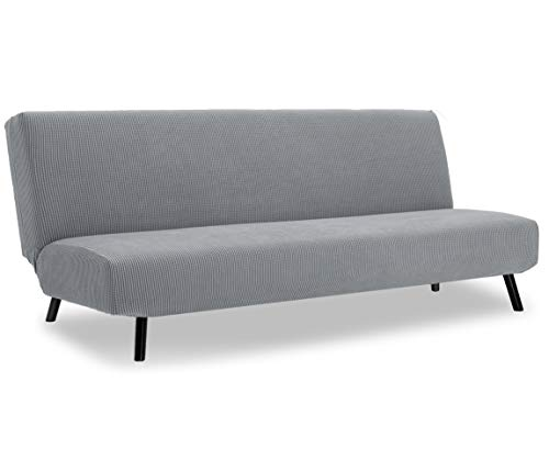 TIANSHU Armless Sofa Cover,Polyester Spandex Stretch Futon Slipcover Protector 3 Seater,armless sofa bed seat cover,Furniture Protector Without Armrests Slipcover(Futon,Light Gray)