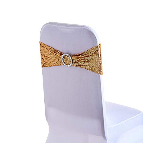 WedDecor 108 x 7 Pollici Spandex Strass Poltrona Bracciali Oro con Rotondo Fibbia Scorrevole Fasce Papillon per Festa Matrimonio Coprisedie Decorazione Eventi Supplies- Singolo - Dorato, 100