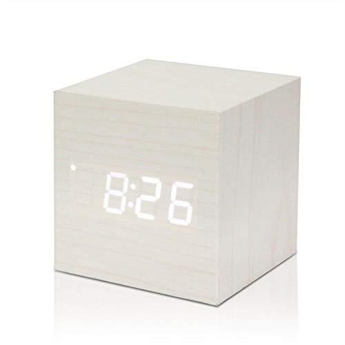 MoMo Thermomètre numérique en Bois LED réveil rétro-éclairage Commande vocale Bois rétro Lueur Horloge Table de Bureau réveil Lumineux réveil, Blanc