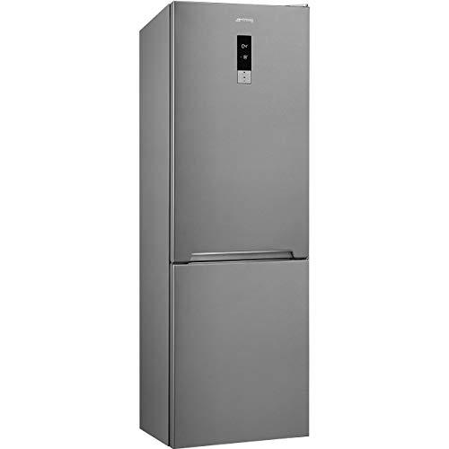 Kombi-Kühlschrank No Frost, 360 Liter, Klasse E (ehemals A++), Edelstahl