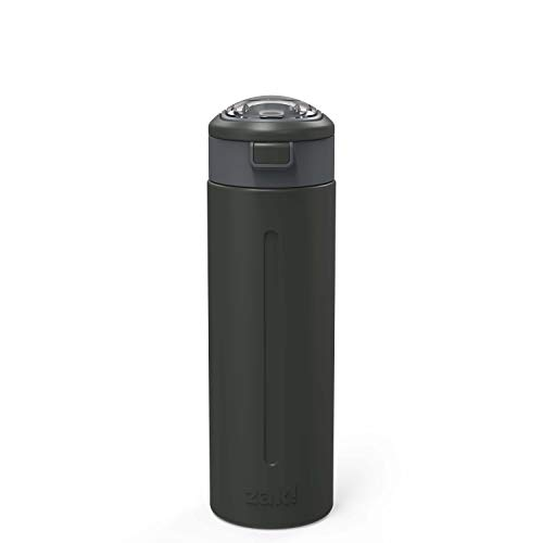 Zak Designs 24oz Genesis Flex Double Wall Vacuum Insulated Water Bottle 18/8 Stainless Steel Non BPA, Leak Proof Flex Lid with Straw, Fit in Any Car Cup Holder, with Built-In Carry Handle, Charcoal