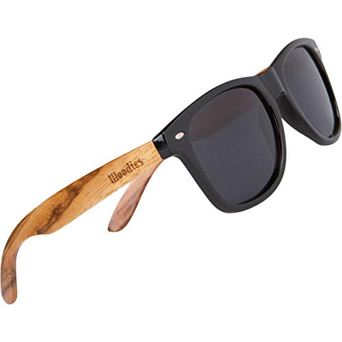 WOODIES-Polarized-Zebra-Wood-Sunglasses-for-Men-and-Women-Black-Polarized-Lenses-and-Real-Wooden-Frame-100-UVAUVB-Ray-Protection