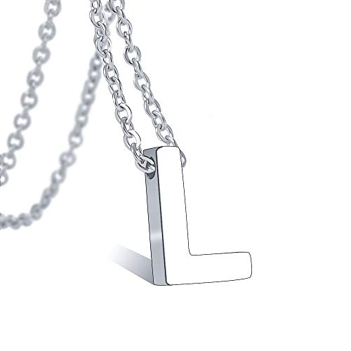 Tarsus L Initial Letter Necklace Stainless Steel Silver Tiny Monogram Alphabet Script Pendant Necklaces Jewelry Gifts for Women Mens Little Girls Boys