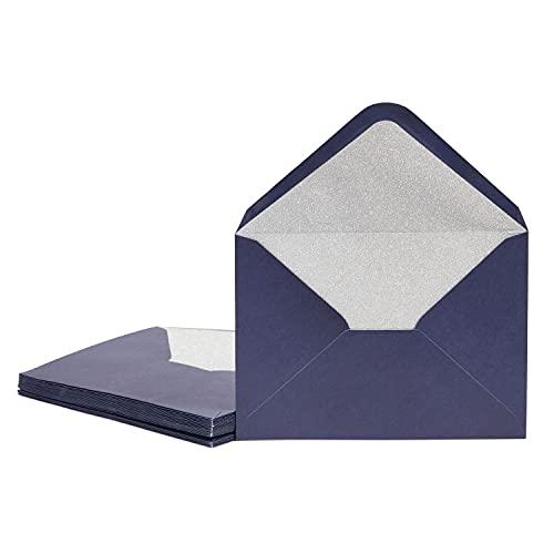 A7 Blue & Silver Invitation Envelopes for Weddings, Birthday (5x7 in, 24 Pack)