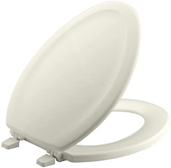 KOHLER K-4647-96 Stonewood Molded-Wood Toilet Seat, Elongated