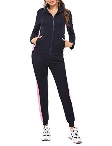 Akalnny Damen Sportanzüge 2 Stück Set Sportjacke mit Reißverschluss oder Tunnelzug und Slim Fit Jogginghose Jogginganzug(Marine + Pink,XXL)