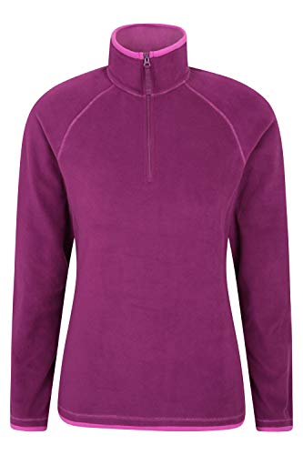 Mountain Warehouse Montana Womens Microfleece Breathable Ladies Sweater Quick Drying Pullover Warm Fleece Jacket Half Zip for Winter Travelling Outdoors Berry 6
