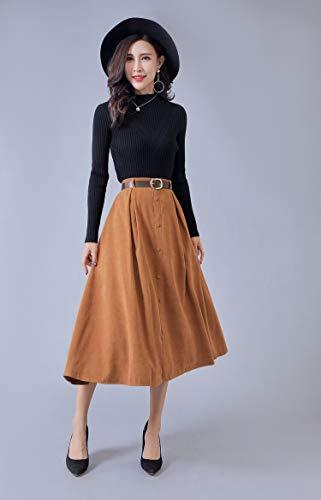 MIBKLPG Vrouwen Lange Elegante Hoge Taille Rok Vrouwelijke Knoop Een Lijn Geplooide Rok Met Riem