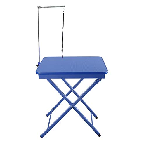 SN Professional Ring Side Dog Grooming Table Adjustable Portable Stainless Steel Non-slip Surface With Arm Noose And Accessories 9.16 (Color : A)