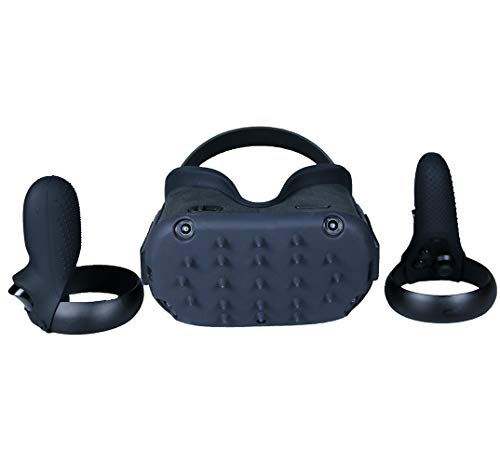 MASiKEN Professional Face Mask Cushion & Controller Grip Accessories for Oculus Quest Head Cover, Silicone Protective Face Cover Set Sweatproof Lightproof (Black)