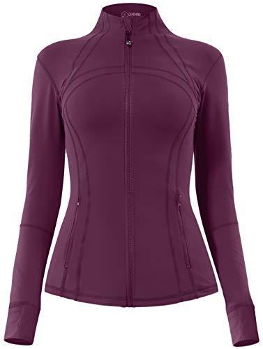 QUEENIEKE Damen Sport definieren Jacke Slim Fit Cottony-Soft Handfeel Farbe Rose Rot Größe M(8/10