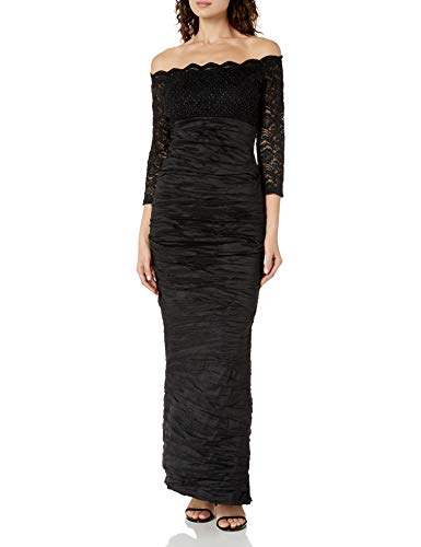 Alex Evenings Women's Long Off The Shoulder Dress with 3/4 Sleeves, Black Lace/Taffeta, 4
