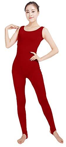 SK Studio Frauen Einteilige Unitard Bodysuit Ärmellos Lycra Spandex Haut Feste elastische Ganzanzug Tanz Yoga Kostüm