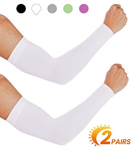 aegend UV Protection Cooling Arm Sleeves - UPF 50 Sun Sleeves - for Men & Women for Cycling, Running, Basketball, Football, Golf, Volleyball, Driving, White 2 Pairs