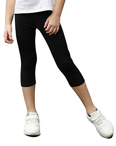 STELLE Girls Active Capri Legging Yoga Pants for Workout Sport Running (Black, XL)
