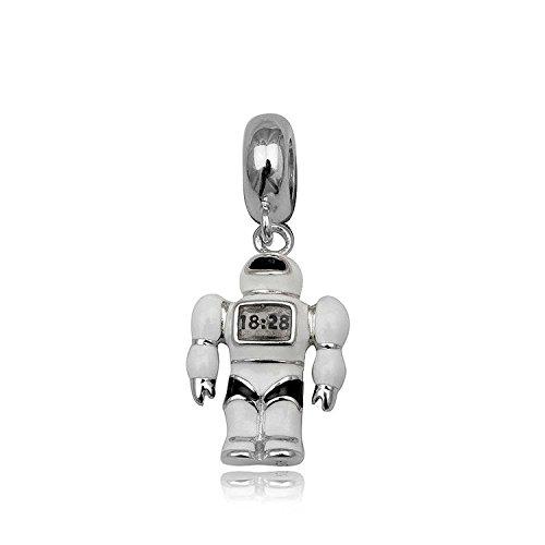 CUTE WHITE ENAMEL ROBOT Sterling Zilver Dangle Hanger Charm Bead voor Vrouwen Dames Meisjes - Past op Europese Charm Armbanden & Kettingen. Hoogwaardig product. Geschenk